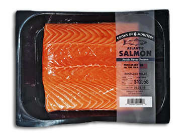 atlantic salmon in black tray
